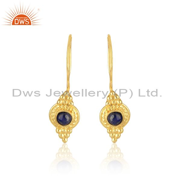 Textured Earring in Yellow Gold On Silver 925 With Natural Lapis