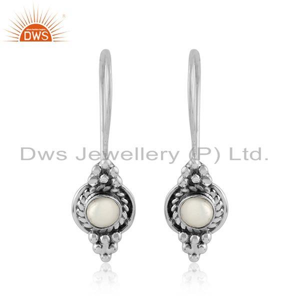 Natural pearl gemstone womens oxidized designer silver earrings