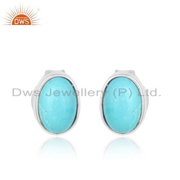 Arizona turquoise gemstone 925 sterling fine silver stud earrings