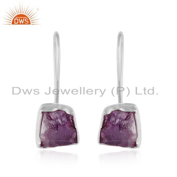 925 Fine Sterling Silver Amethyst Gemstone Hook Dangle Earrings