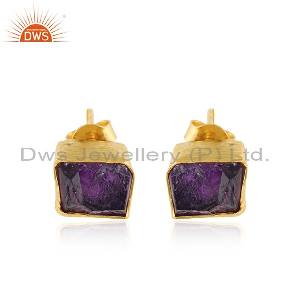 New Yellow Gold Plated 925 Silver Amethyst Gemstone Stud Earrings