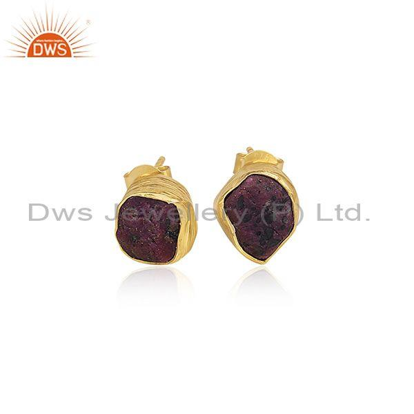Ruby Set Gold On Sterling Silver Handmade Abstract Earrings
