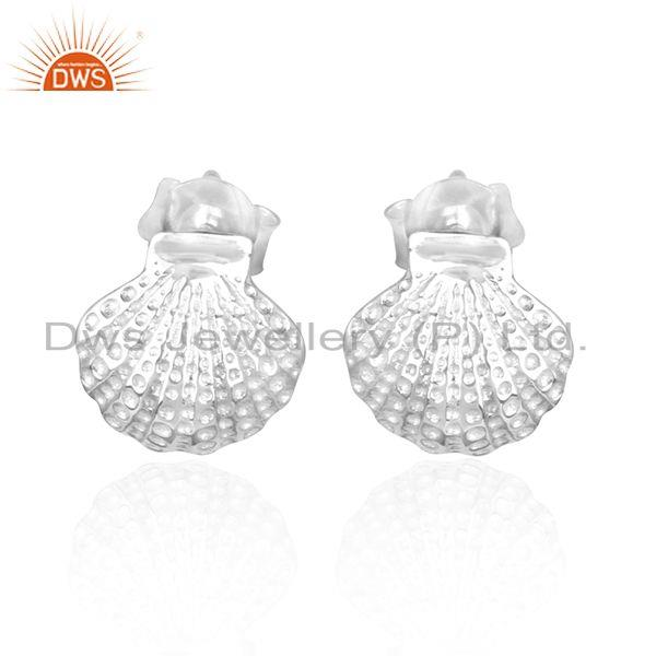 Texture shell design 925 sterling fine silver earring jewelry