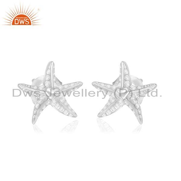 Star design sterling fine silver stud earrings jewelry for women