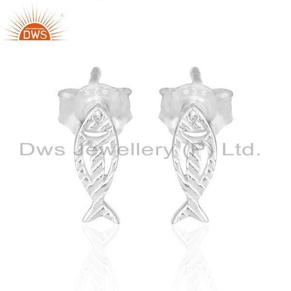 Fish design 925 sterling fine silver womens stud earrings jewelry