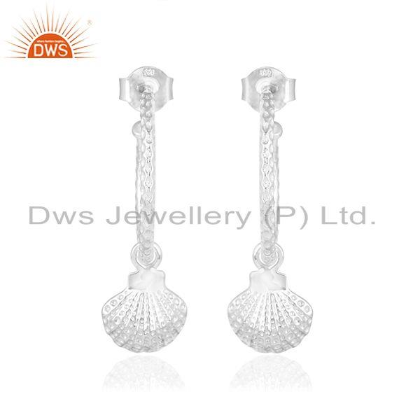 Shell design 925 sterling fine silver womens dangle earrings