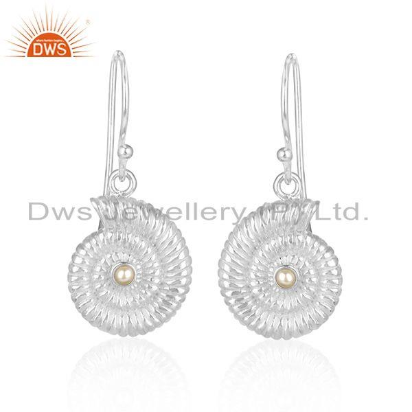 Natural pearl gemstone spiral shell design dangle earring jewelry