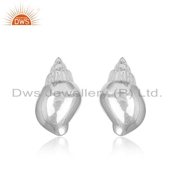 Conch design 925 sterling fine silver handmade stud earrings