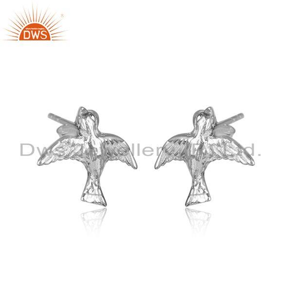 Handmade bird design 925 sterling silver womens earrings jewelry