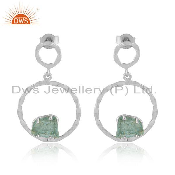 Apatite Gemstone 925 Sterling Silver Dangle Disc Earrings Jewelry