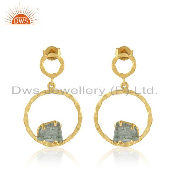 Natural Apatite Gemstone Gold Plated Silver Disc Earrings Jewelry