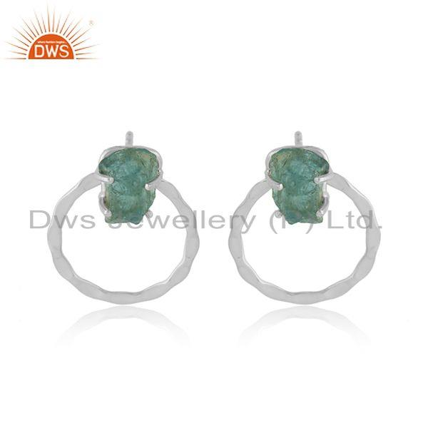 925 Sterling Silver Disc Design Apatite Gemstone Stud Earrings