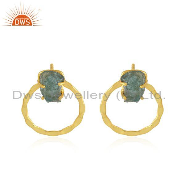 Handmade Gold Plated Disc Design Apatite Gemstone Earring Jewelry
