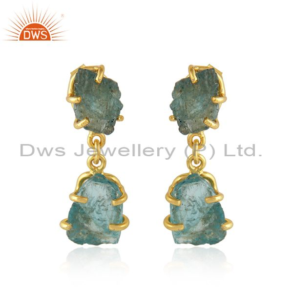 Natural Apatite Yellow Gold Plated Silver Dangle Earrings Jewelry