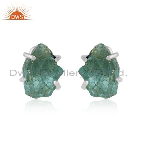 Sterling Silver Apatite Gemstone Designer Stud Earrings Jewelry
