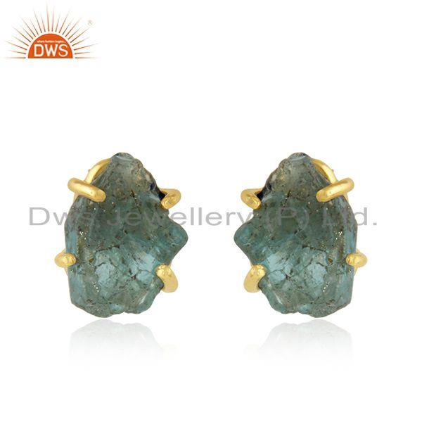 Prong Set Apatite Gemstone Gold Plated 92.5 Silver Stud Earrings