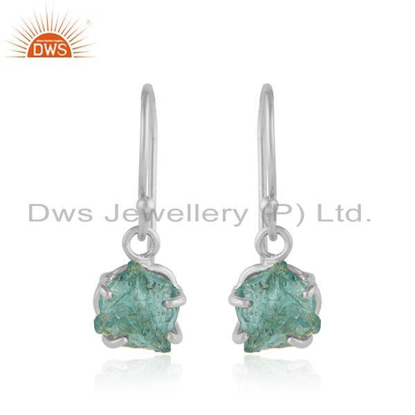 925 Sterling Fine Silver Apatite Gemstone Designer Hook Earrings