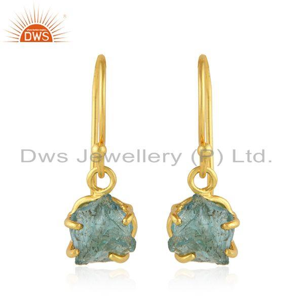 Gold Plated 925 Silver Designer Apatite Gemstone Hook Earrings