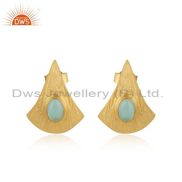 Texture Design Gold On Silver 925 Aqua Chalcedony Earrings