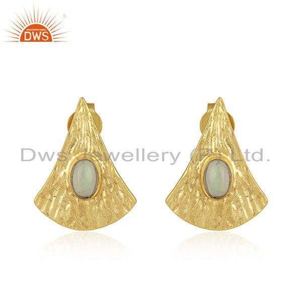 Design Texture 18k Gold Plated Silver Gemstone Earrings Jewelry