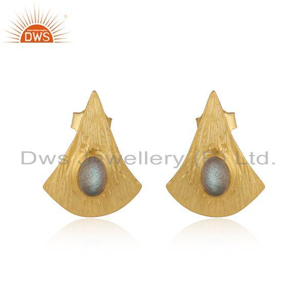 Design texture 18k gold plated silver labradorite earrings jewelry