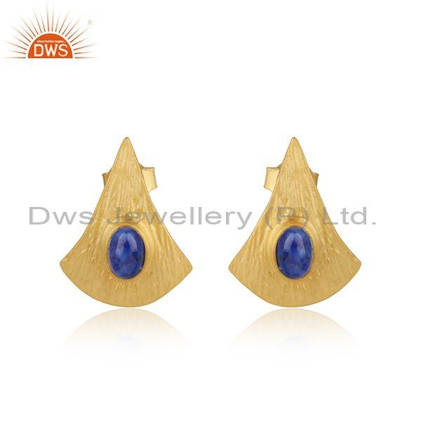 Textured Design Yellow Gold On Silver 925 Lapis Earrings