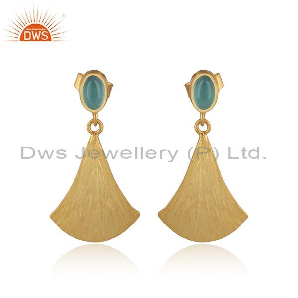 Textured Gold on Silver Dangle Aqua Chalcedony Earring