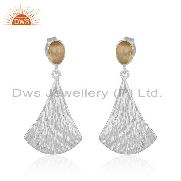 Longing Texture Fine Silver Ethiopian Gemstone Earrings Jewelry