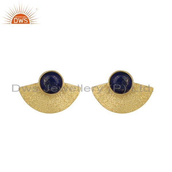 Yellow Gold on 925 Silver Textured Stud Lapis Earrings