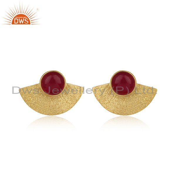 Dyed Ruby Yellow Gold on 925 Silver Textured Fan Studs