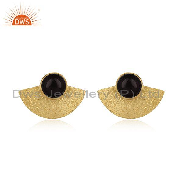 Black Onyx Yellow Gold on 925 Silver Textured Fan Studs