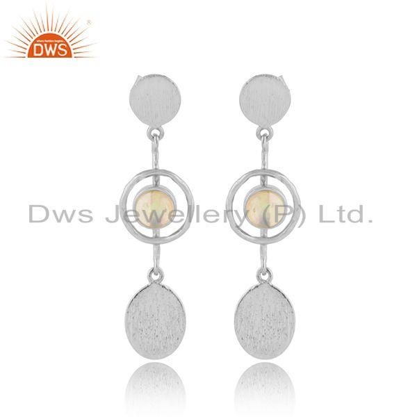 Handmade Fine Sterling Silver Ethiopian Opal Gemstone Earrings