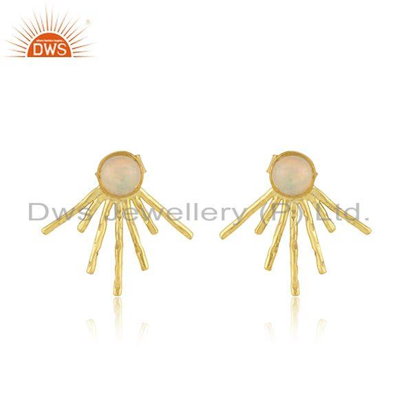 Handmade Design Gold Plated Silver Ethiopian Opal Gemstone Earrings