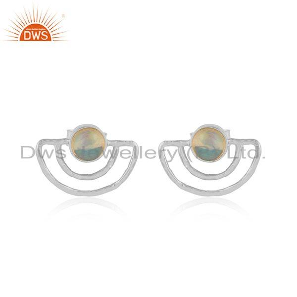 Moon Design Sterling Silver Ethiopian Opal Gemstone Stud Earrings
