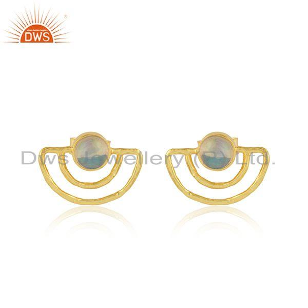 Moon Design Yellow Gold Plated Silver Ethiopian Opal Stud Earrings