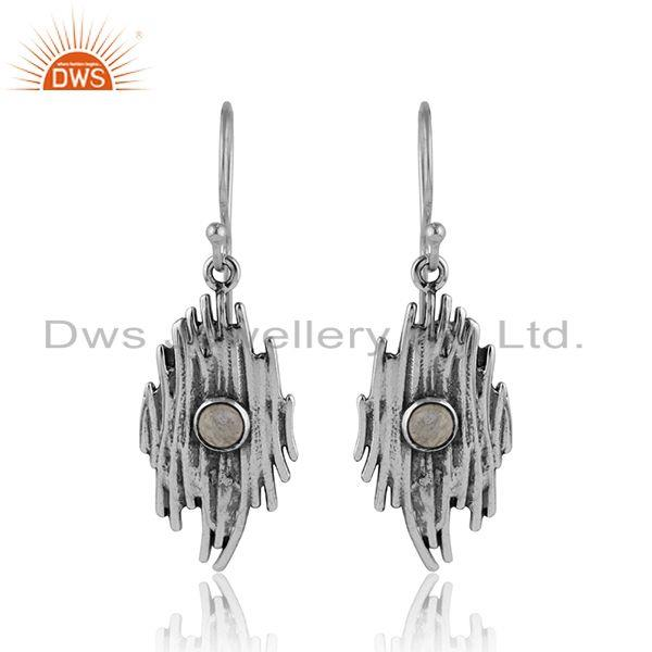 Vibration Design Oxidized 925 Silver Rainbow Moonstone Earring