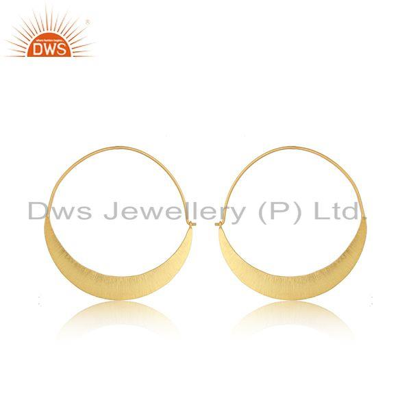 New Arrival Yellow Gold Plated Silver Bali Hoop Earrings Jewelry