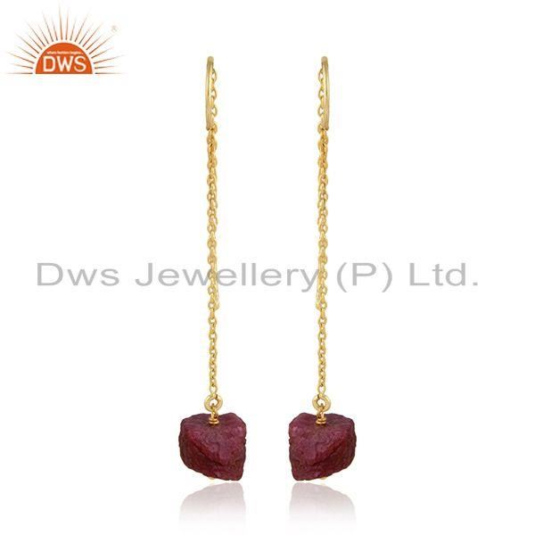 Natural Ruby Gemstone 925 Silver Yellow Gold Plated Chain Earring