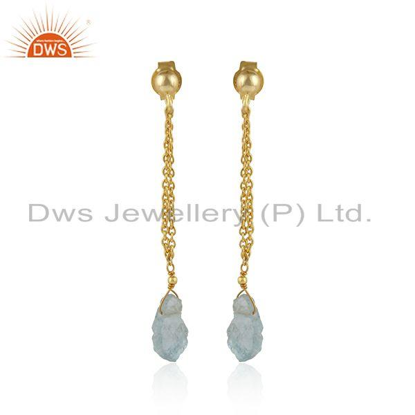 Aquamarine Gemstone Indian 18k Gold Plated Silver Chain Earrings