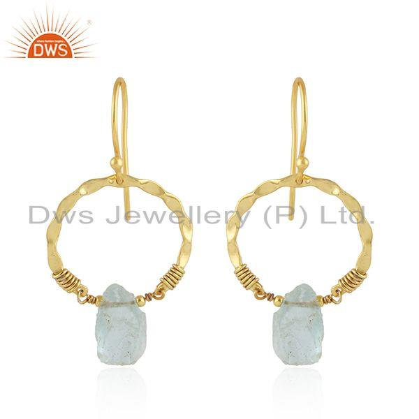 Round Gold Plated 925 Silver Designer Aquamarine Gemstone Earring