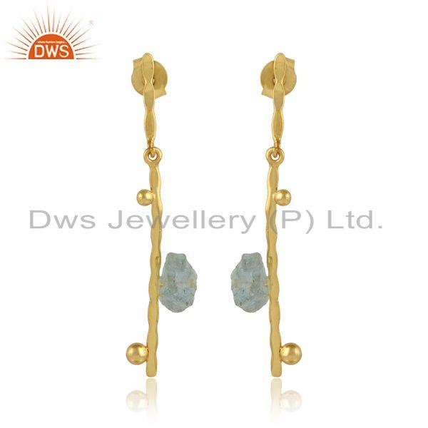 Aquamarine gemstone handmade gold plated silver stick earrings