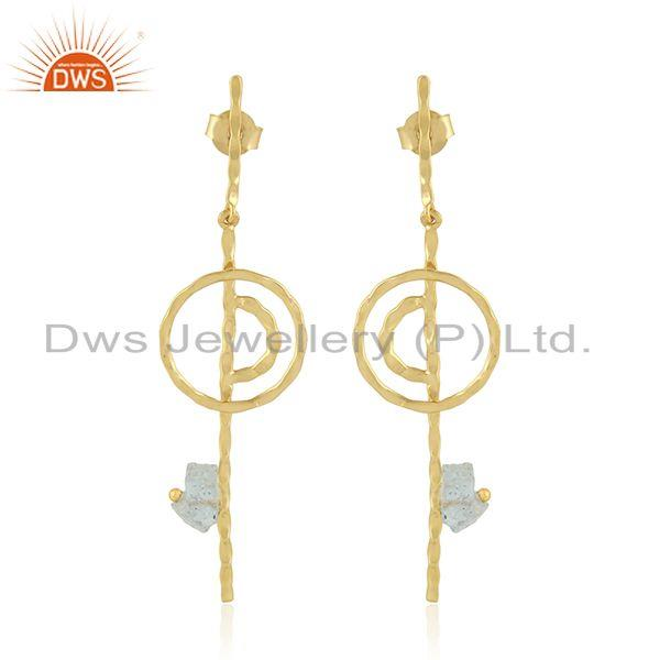 Handmade Stick Gold Plated 925 Silver Aquamarine Gemstone Earring