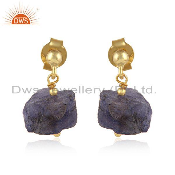 Tanzanite Gemstone Handmade Design Gold Plated Silver Earrings