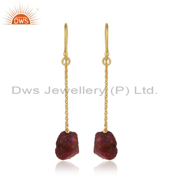 Natural Ruby Gemstone Gold Plated Silver Dangle Chain Earrings
