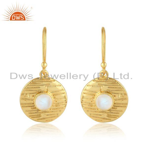 Texture Round Disc Gold Plated Silver Rainbow Moonstone Earrings