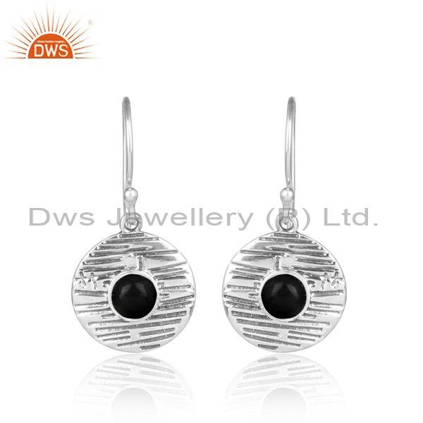 Black Onyx Set Handmade Oxidized Sterling Silver Earrings