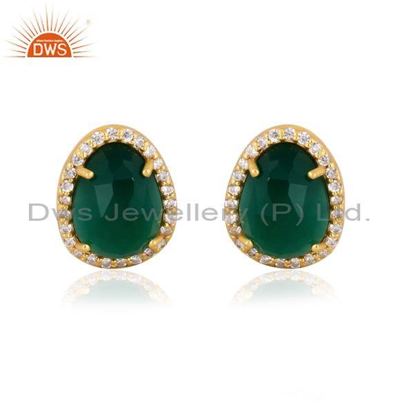 Cz and green onyx set gold on 925 sterling silver earrings