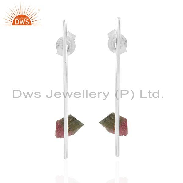Stick shape streling fine silver bio tourmaline gemstone earrings