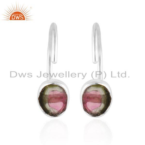 Bio tourmaline gemstone designer fine silver hook earring jewelry