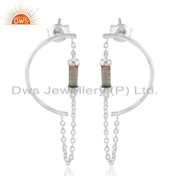 Bio Tourmaline Gemstone 925 Fine Silver Ear Cuff Earrings Jewelry